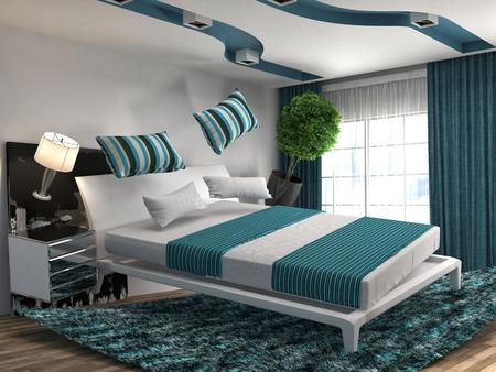 gravity: cama cero gravedad flotando en la sala de estar. 3d ilustraci�n