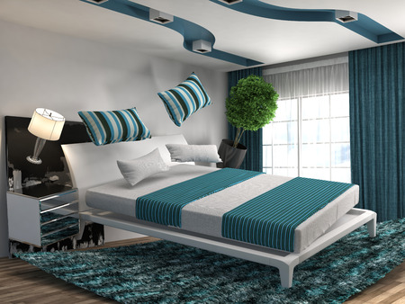 gravity: zero gravity bed hovering in living room. 3d illustration
