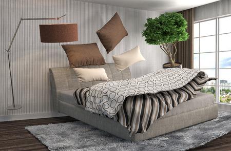 Zero Gravity Bed Hovering In Living Room. 3d Illustration Stock  Illustration   53818609