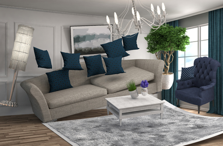 gravity: Zero Gravity Sofa hovering in living room. 3D Illustration