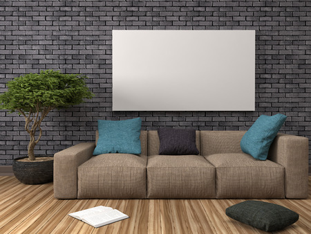 Mock up blank poster on the wall of interior with sofa. 3D Illustration Banco de Imagens