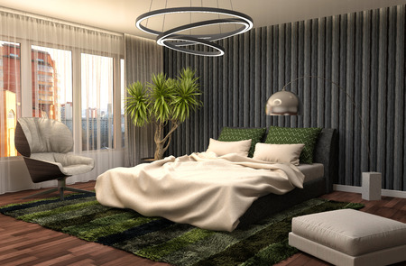 home decorations: Bedroom interior. 3d illustration