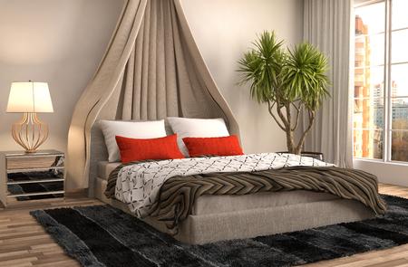 luxury home: Bedroom interior. 3d illustration