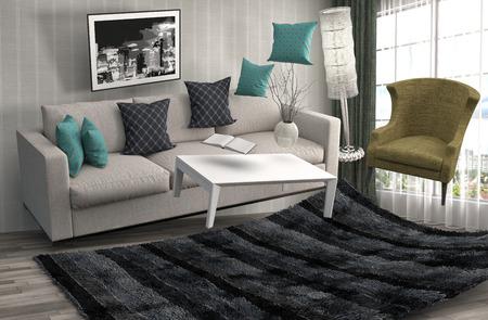 gravedad: Gravedad cero Sof� flotando en la sala de estar. Ilustraci�n 3D Foto de archivo