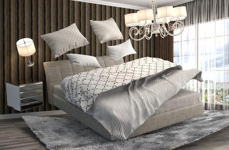 gravedad: cama cero gravedad flotando en la sala de estar. 3d ilustraci�n