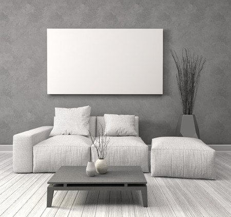 Mock up blank poster on the wall of interior with sofa. 3D Illustration 写真素材