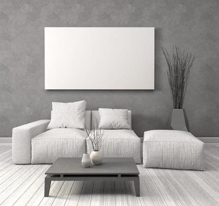 Burlarse de cartel en blanco en la pared del interior con sofá. Ilustración 3D Foto de archivo