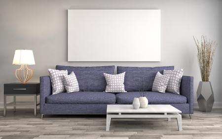 Burlarse de cartel en blanco en la pared de la inter con sofá. Ilustración 3D Foto de archivo