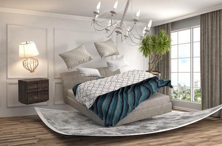 gravedad: zero gravity bed hovering in living room. 3d illustration
