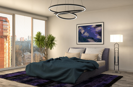 Interieur slaapkamer. 3d illustratie