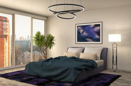 Interior del dormitorio. 3d ilustración Foto de archivo - 54066433