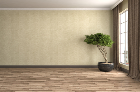 room decorations: interior with large window. 3d illustration