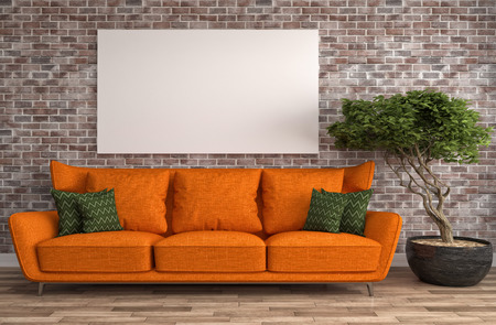 Mock up blank poster on the wall of interior with sofa. 3D Illustration Archivio Fotografico
