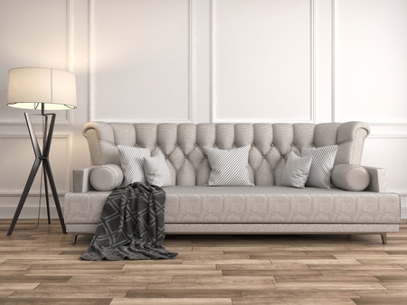 room decorations: interior with sofa. 3d illustration