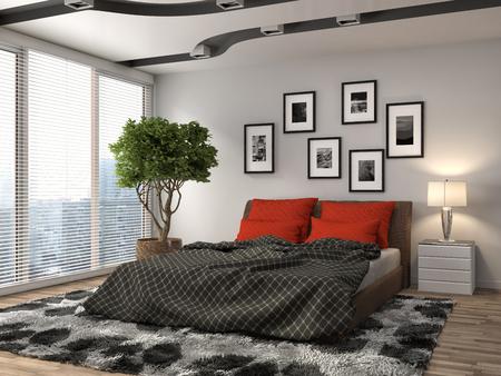 living room: Bedroom interior. 3d illustration