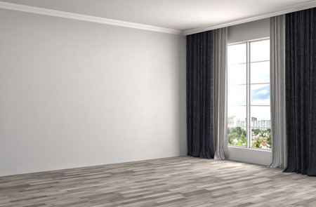 interior window: interior with large window. 3d illustration