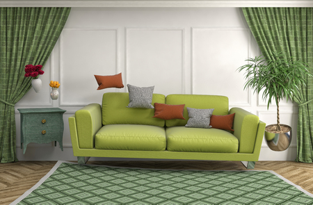 weightlessness: Zero Gravity Sofa hovering in living room. 3D Illustration