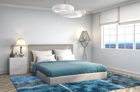 clean carpet: Bedroom interior. 3d illustration