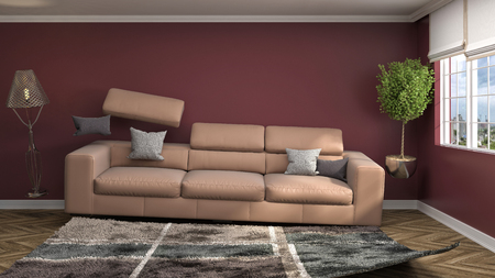 gravedad: Gravedad cero Sofá flotando en la sala de estar. Ilustración 3D Foto de archivo