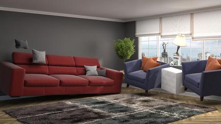 paradox: Zero Gravity Sofa hovering in living room. 3D Illustration