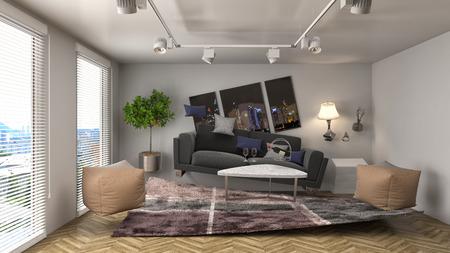 zero gravity: Zero Gravity Sofa hovering in living room. 3D Illustration