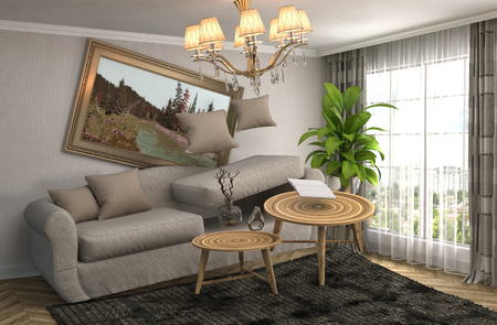 gravity: Gravedad cero Sof� flotando en la sala de estar. Ilustraci�n 3D Foto de archivo