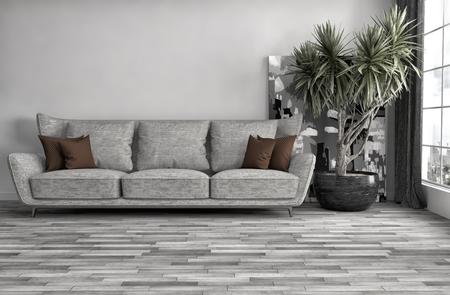 interior with sofa. 3d illustration Stock fotó