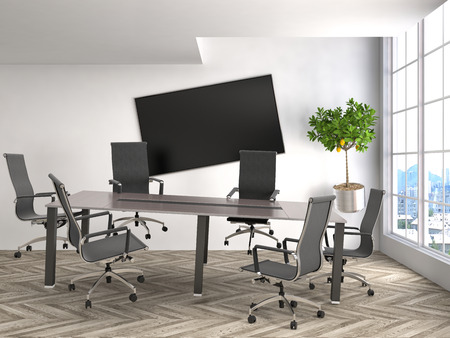 to gravity: Zero Gravity in office interior. 3D Illustration Stock Photo