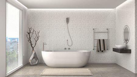 wood room: Bathroom interior. 3D illustration