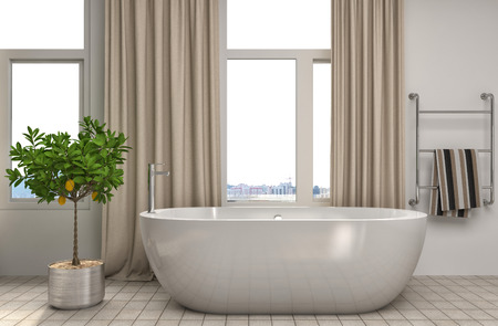 hospedaje: Cuarto de baño entre otras. ilustración 3D Foto de archivo