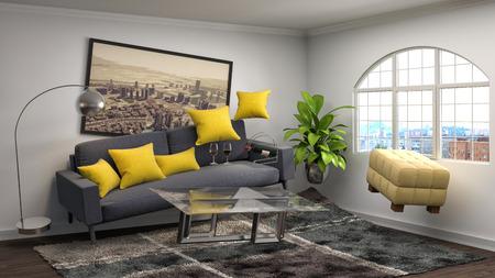 gravedad: Zero Gravity Sofa hovering in living room. 3D Illustration