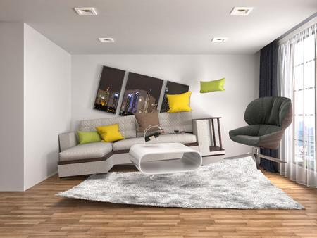 gravity: Zero Gravity Sofa hovering in living room. 3D Illustration