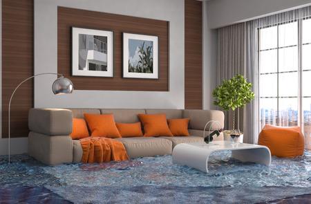 Intérieur de la maison inondée avec de l'eau. 3d illustration Banque d'images - 61831695
