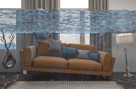 家の内部は水があふれています。3 d イラストレーション