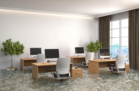 interior de la casa inundada con agua. 3d ilustración Foto de archivo