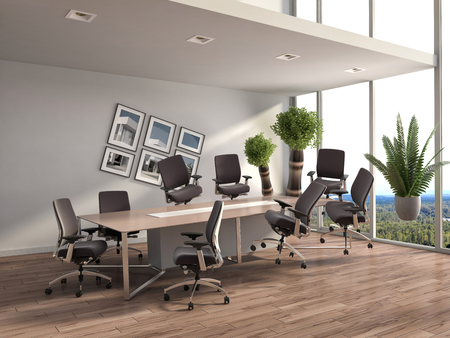 gravedad: Gravedad cero en el interior de la oficina. Ilustración 3D