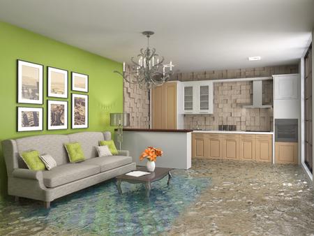 interieur van het huis overspoeld met water. 3d illustratie Stockfoto