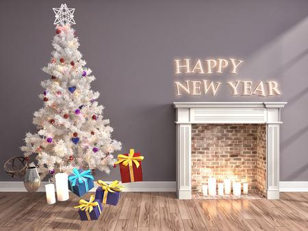 Kerstboom met decoraties in de woonkamer. 3d illustratie