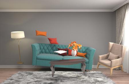 無重力の家具は、リビング ルームでホバリングします。3 D イラストレーション 写真素材