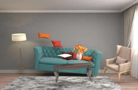 APARTMENT LIVING: Zero Gravity furniture hovering in living room. 3D Illustration