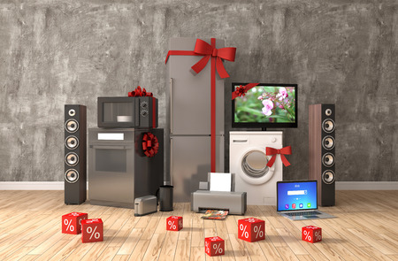 appliances: Home appliance with ribbons and discounts in interior. 3D Illustration Stock Photo