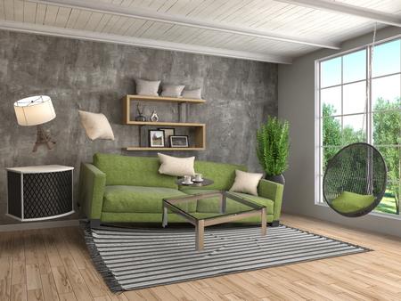 zero gravity: Zero Gravity furniture hovering in living room. 3D Illustration