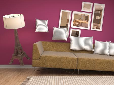 gravedad: muebles de la gravedad cero que asoma en la sala de estar. Ilustraci�n 3D