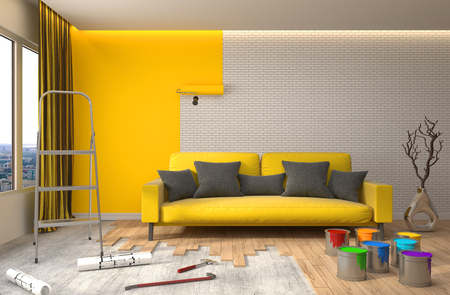 renew.: Repair and painting of walls in room. 3D illustration.