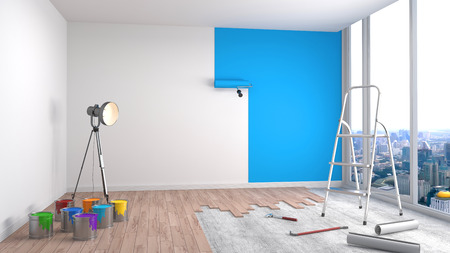 blue paintroller: Repair and painting of walls in room. 3D illustration.