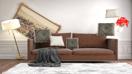 gravedad: muebles de la gravedad cero que asoma en la sala de estar. Ilustración 3D