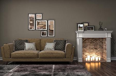 chimes: Interior room cartoon. 3d illustration