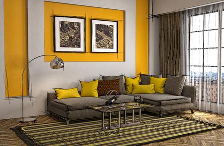 couches: Interior room cartoon. 3d illustration