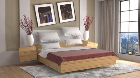 gravedad: Zero Gravity furniture hovering in living room. 3D Illustration