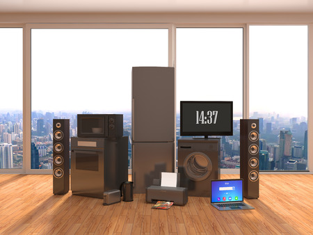 appliance: Home appliance in interior. 3D Illustration